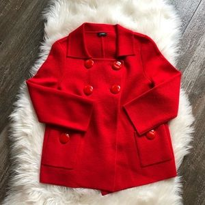 J. Crew Red Wool Sweater button embellishments